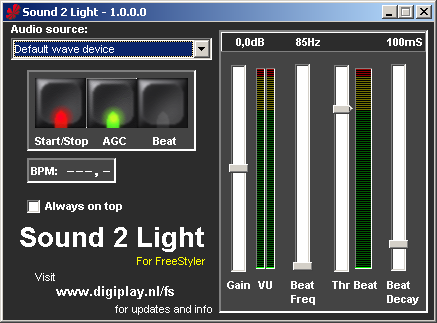Sound to Light Interface [FreeStyler Wiki]